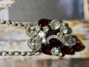 One of a Kind Vintage Brooch Necklace, Red and Crystal Vintage Pin