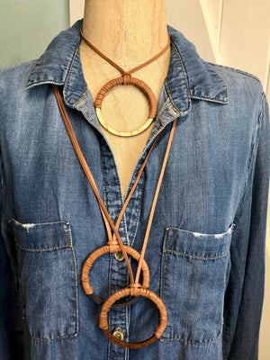 Circle Necklace on Leather
