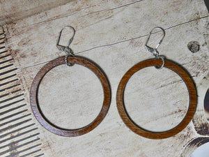 Circle Earrings, Medium Chestnut Wood Earrings, Silver Euro Wire