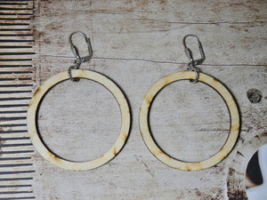 Circle Earrings, Medium Natural Wood Earrings, Silver Euro Wire