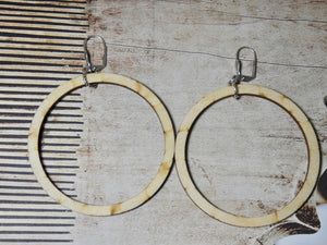 Circle Earrings, Large Natural Wood Earrings, Silver Euro Wire