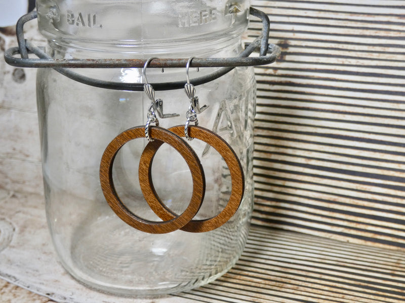 Circle Earrings, Small Chestnut Wood Earrings, Silver Euro wire