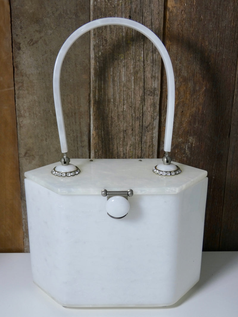 Vintage Handbag Rialto New York White Lucite purse