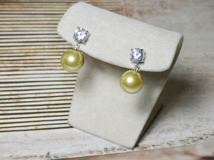 Cream Pearl and Crystal Pierced Earring