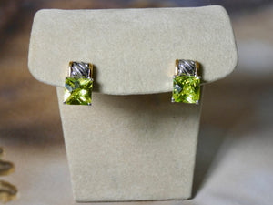 Colored Crystal Earring with Two tone metal detail