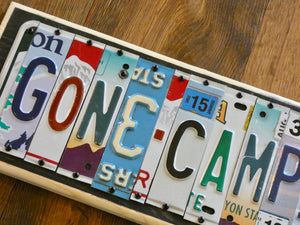 Gone Camping License Plate Sign