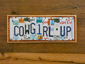 Cowgirl Up License Plate Sign