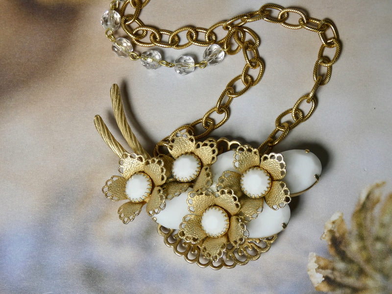 One of a Kind Vintage Repurposed Brooch Necklace