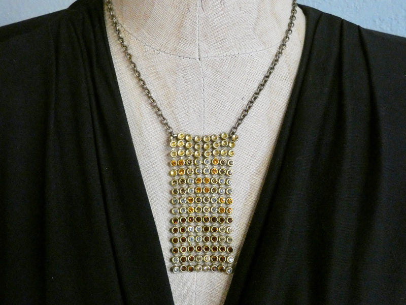 One of a Kind Vintage Mesh Rhinestone Necklace