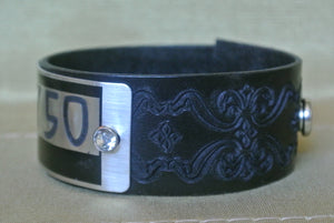 Leather Cuff Bracelet, #1750 Silver Locker Tag