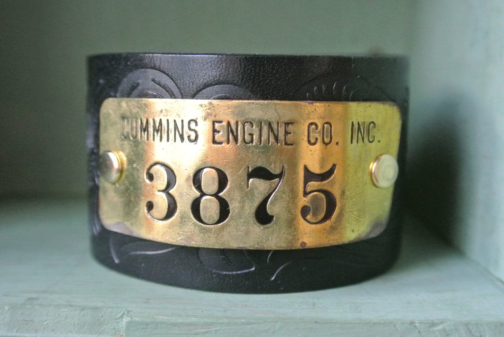 Leather Cuff Bracelet Cummins Engine CO Brass Tag #3875