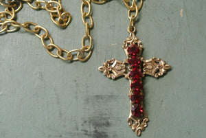 Gold Cross Necklace- Red Rhinestone Detail