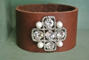 Leather Cuff Bracelet with repurposed brooch