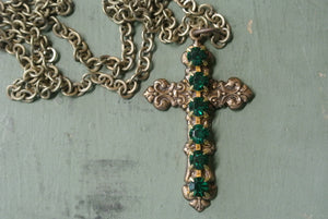 Vintage Cross Necklace- Green Rhinestone Detail