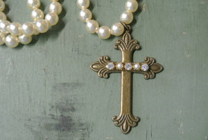 Vintage Pearl Cross Necklace