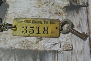 Skeleton Key and Tag Necklace - Cummins Engine Co Tag #3518
