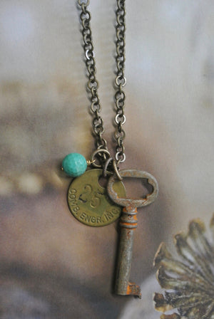 Vintage Skeleton Key and #257 Warehouse Tag Necklace