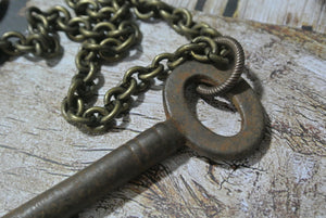 Skeleton Key Necklace, Chunky Unisex Key Necklace