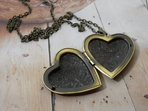 Heart Locket Necklace, Large Brass Heart Locket