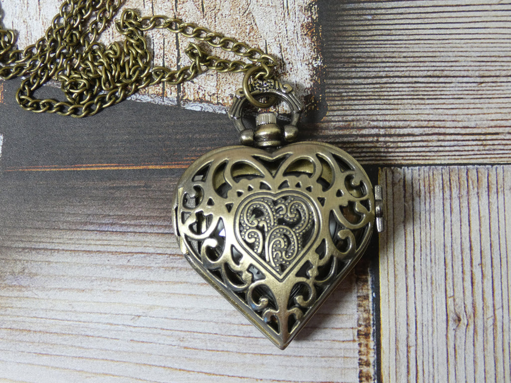 Pocket Watch Heart Necklace