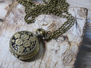 Pocket Watch Necklace - Flower Design