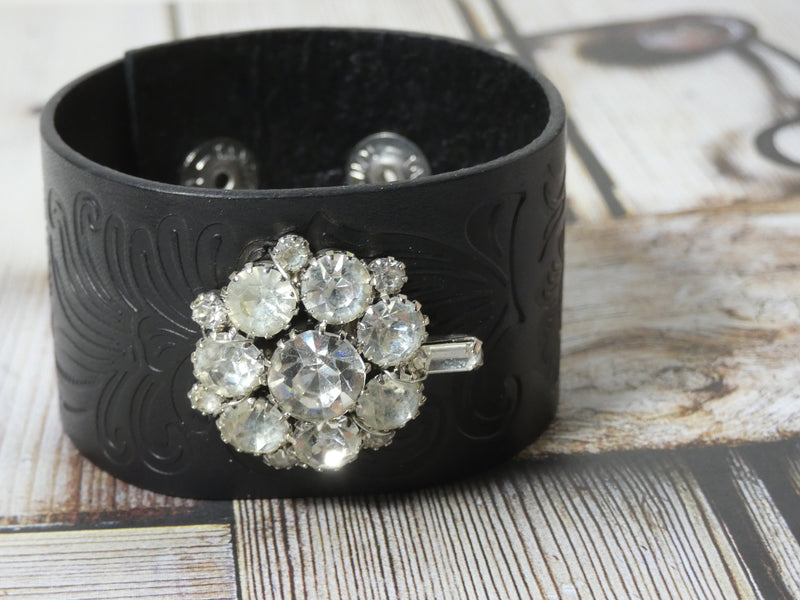 Leather Cuff Bracelet Rhinestone repurposed brooch