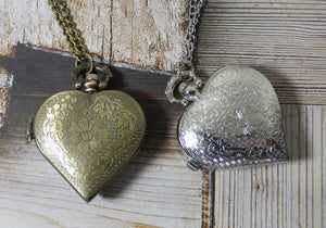 Heart Pocket Watch Necklace in Brass
