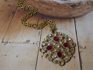 Red and Crystal One of a Kind Necklace