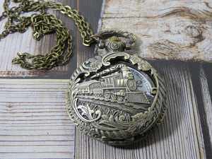 Train Pocket Watch Necklace