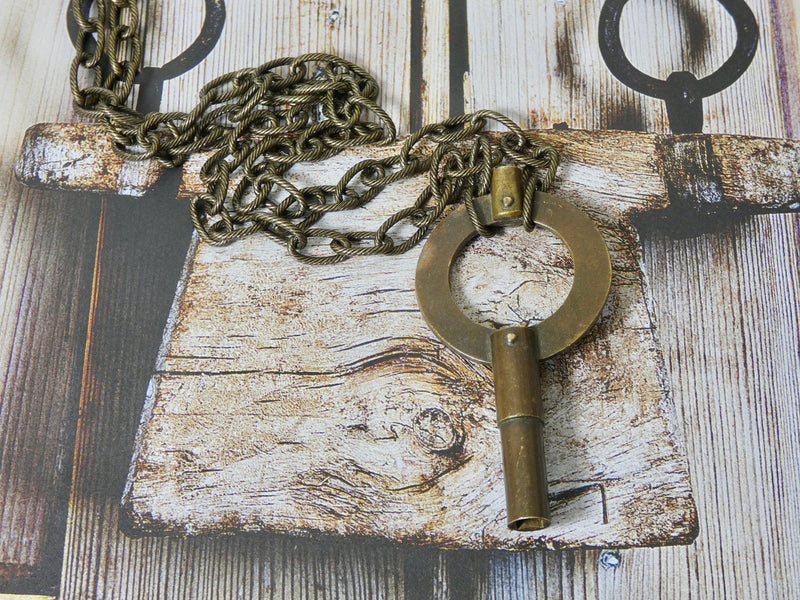 Vintage rare winding Key Necklace