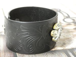 Leather Cuff Bracelet with Rhinestone repurposed brooch