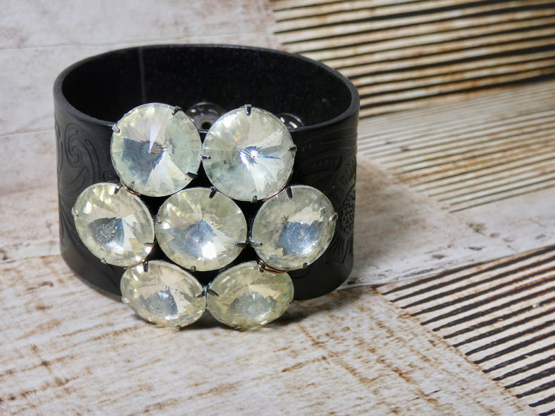 Leather Cuff Rhinestone Bracelet