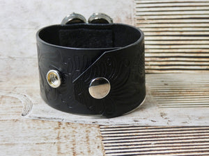 Leather Cuff Bracelet with Vintage Repurposed Brooch