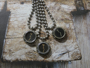 Typewriter Key Necklace - Authentic Question Mark Typewriter Key