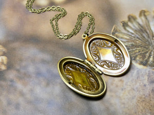 Locket Necklace, Brass Oval Picture Locket- The Perfect Mother Daughter Gift