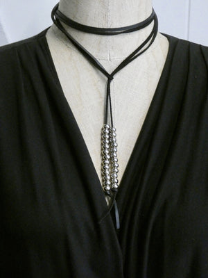 Leather Lariat Necklace, Deer Skin Leather with Silver Beads