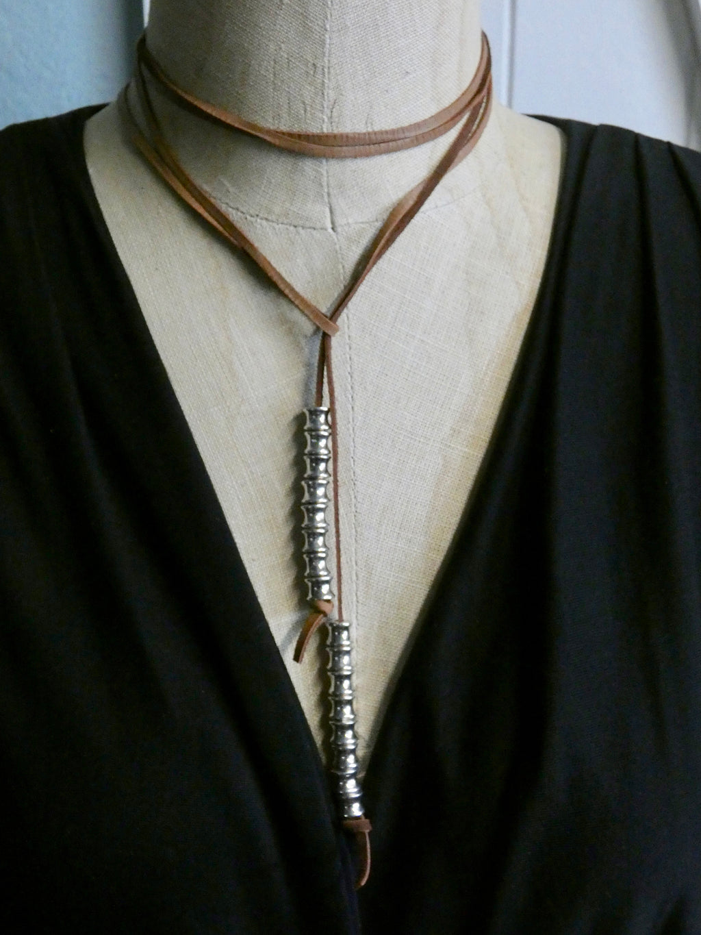 Leather Lariat Necklace, Deer Skin Leather with Silver Chunky Beads