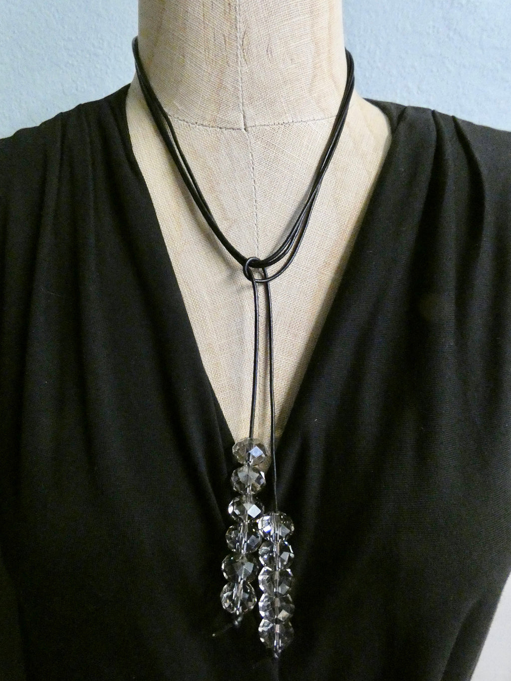 Lariat Leather and vintage crytstal beaded Necklace