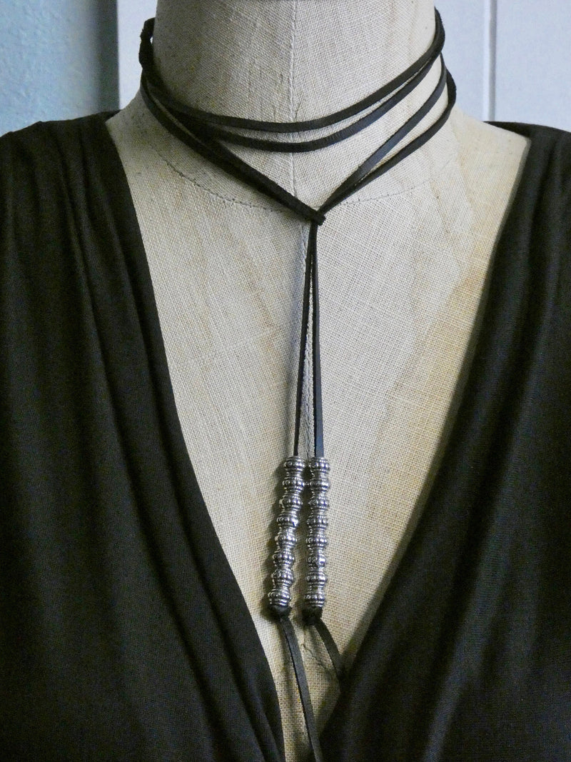 Leather Lariat Necklace, Deer Skin Leather with Silver Detailed Beads