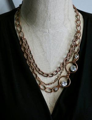 One of a Kind Vintage Copper Metal and Crystal Necklace