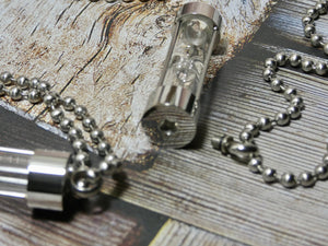 Sand Timer Urn Necklace, Silver Hour Glass Necklace or put your own sand in the empty capsule