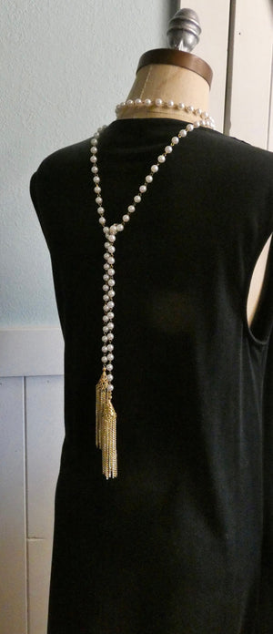 Lariat Pearl Tassel Necklace, Extra Long Gold Tassel