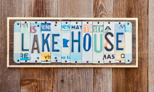 Lake House License Plate Sign repurposed from license plates