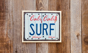 Surf License Plate Sign