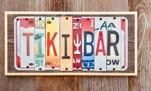 Tiki Bar License Plate Sign