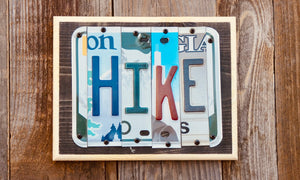 Hike Sign made from repurposed license plates