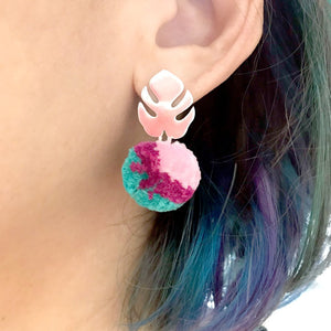Monstera and Pom Pom Earrings