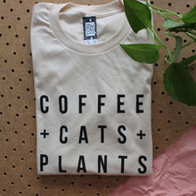 Load image into Gallery viewer, Coffee, Cats and Plants T-Shirt - Unisex