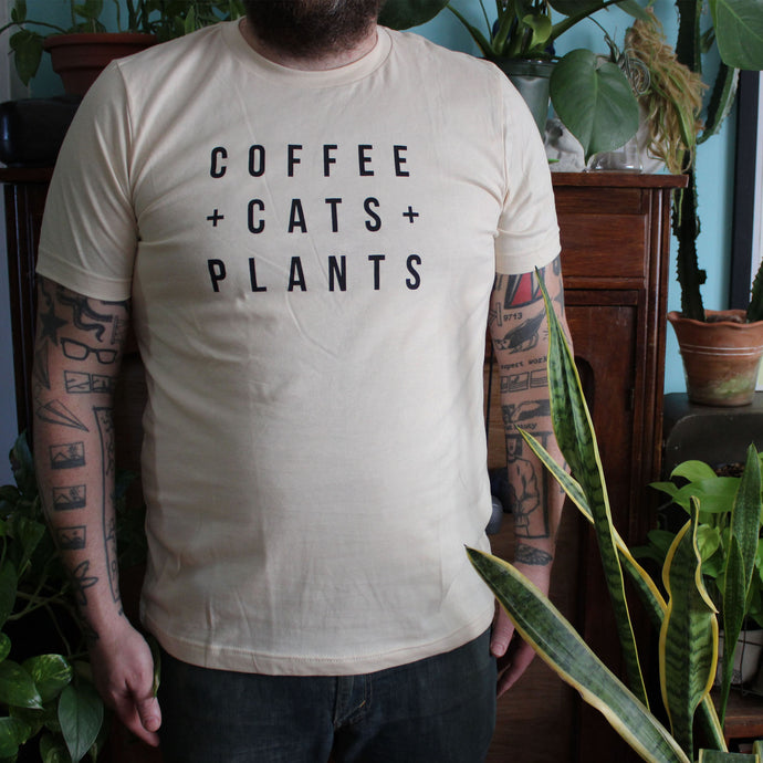Coffee, Cats and Plants T-Shirt - Unisex