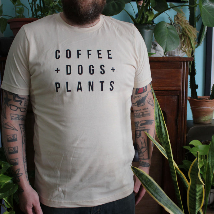 Coffee, Dogs and Plants T-Shirt - Unisex